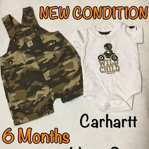 🌻CARHARTT - 2 Piece Camo Overall Outfit - 6 Month